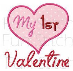 My 1st Valentine heart applique machine embroidery design