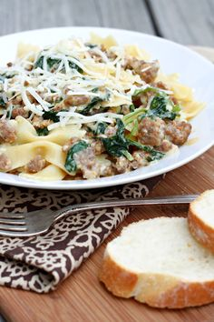 Pasta with Spicy Sausage | This pasta dish features spicy Italian sausage and rapini, also known as broccoli rabe.