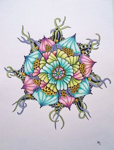 """Pen and colored pencil mandala 