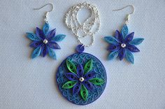 Hand made blue and green paper quilling set of necklace by NhiArt, $35.00
