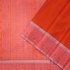 This elegant kanjivaram sari is in orange. The korvai border in rose water pink has peacock, mythical animal and geometric patterns in orange, while the pallu features a diamond band flanked by mythical animal, geometric and peacock motifs also in orange. Diamond Bands, Sarees, The 100, Wallet, Silk, Cover, Pattern, Collection, Saris