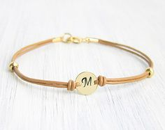 Personalized Initial Monogram Disc Leather Cord Bracelet - Handmade Jewelry Gift for Friendship, Woman or Bridemaid Leather Cord Bracelets, Dainty Bracelets, Leather Jewelry, Handmade Bracelets, Metal Jewelry, Handmade Jewelry, Beaded Bracelets, Geek Jewelry, Gothic Jewelry
