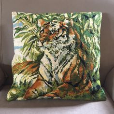 Large tiger needlepoint cushion cover - rescued vintage hand stitched tapestry with concealed zip backing - square Needlepoint Kits, Needlepoint Canvases, Gifts For Mum, Tapestry Wall Hanging, Hand Stitching, Cushions, Throw Pillows, Zip, Cover