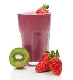 High Protein, Low Cal Recipe -- Kiwi Strawberry Protein Shake, 215 g protein(Best Breakfast Shakes) Protein Shake Recipes, Protein Foods, Smoothie Recipes, Protein Sources, Juice Recipes, Meal Recipes, Whey Protein, Healthy Recipes, Watermelon Smoothies