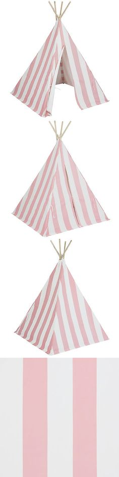 Other Play Tents and Tunnels 11744: Best Choice Products Kid S Teepee Tent Playhouse, White W Pink Stripes -> BUY IT NOW ONLY: $59.99 on eBay!