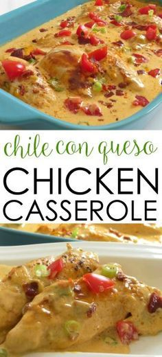 This easy chicken casserole recipe is a crowd-pleasing favorite! It's filled with Tex Mex flavors and covered in cheese. Chile Con Queso Chicken Casserole Easy Chicken Recipe (Mexican Recipes For A Crowd) Healthy Potato Recipes, Easy Chicken Recipes, Mexican Food Recipes, Cauliflower Recipes, Recipe Chicken, Recipes Dinner, Easy Recipes, Chicken Recipes With Cheese, Chicken