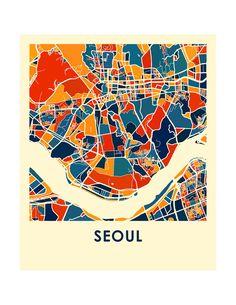 Seúl mapa imprimir mapa afiche a todo Color por iLikeMaps en Etsy