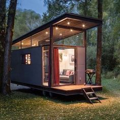 RoadHaus by Wheelhaus Shipping container cabin in the woods Tiny House Trailer, Tiny House Cabin, Tiny House Living, Tiny House Plans, Tiny House On Wheels, Tiny House Office, Building A Container Home, Container House Plans, Container House Design
