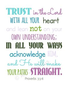 Trust in the Lord // Proverbs 356 // Aquas & Purples by AllOurDays