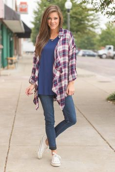 """""""Cool For The Casual Cardigan, Navy-Plum"""" This cardi takes cute and casual to a new level! The plaid cardigan is so chic! We love how it looks like a plaid button up with the color and the tabbed sleeves but then then instead of actually buttoning it's super flowing! #newarrivals #shopthemint"""