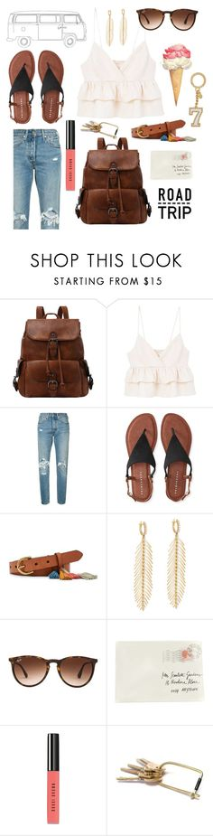 """Road Tripping"" by jonnabobana ❤ liked on Polyvore featuring MANGO, Levi's, Aéropostale, FOSSIL, Sidney Garber, Ray-Ban, Trace, Moschino, Bobbi Brown Cosmetics and Michael Kors"