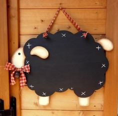 Primitive chalkboard sheep with checked homespun. Cute