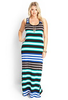 "Multi-Striped Maxi Dress | FOREVER21 #F21Plus We need to ""train/tell"" the buyers or designers what looks good on us instead of what they push on us as available!"