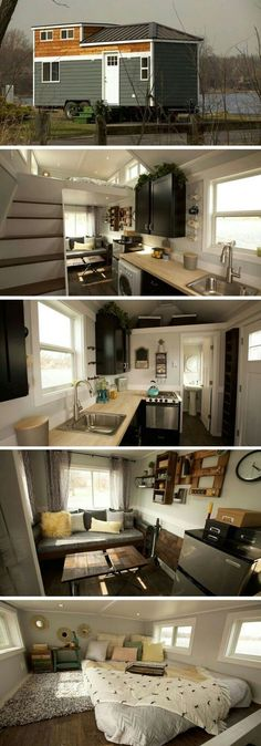 This Tiny House! The Notarosa tiny house: measures a total of 250 square feet and is made just outside Chicago. Plan Tiny House, Tiny House Living, Tiny House On Wheels, Tiny House Design, Tiny House Movement, Tyni House, Small Beach Houses, Casas Containers, Tiny House Nation