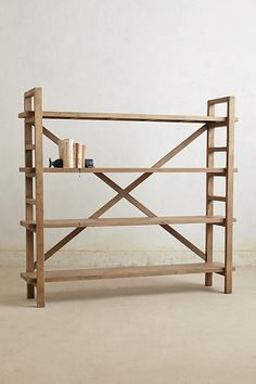 Toscana Bookcase by Anthropologie Neutral One Size House & Home from Anthropologie. Saved to interior design. Pine Bookcase, Wooden Bookcase, Bookcase Shelves, Bookcases, Cool Shelves, Large Bookcase, Unique Furniture, Home Furniture, Furniture Design