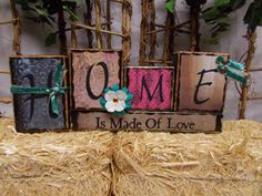 Home Is Made Of Love Wood Block Sign by ktuschel on Etsy 2x4 Crafts, Wood Block Crafts, Wooden Crafts, Barn Board Projects, Diy Wood Projects, Block Art, Block Head, Painted Boards, Wood Vinyl