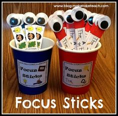 Focus sticks- a great tool to use to help students with writing. FREE printables to make your own focus sticks for your classroom. 1st Grade Writing, Kindergarten Literacy, Teaching Writing, Writing Activities, Teaching Tips, Preschool, Writing Rubrics, Writing Ideas, Maila