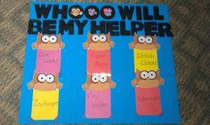 Classroom helper chart...owl themed room