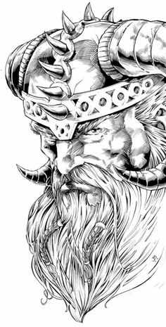 ▷ Over 1001 ideas for Viking tattoos and what that means # means … – Norse Mythology-Vikings-Tattoo Tattoo Sketches, Tattoo Drawings, Body Art Tattoos, Art Drawings, Tribal Tattoos, Art Viking, Viking Warrior, Panzer Tattoo, Traditional Viking Tattoos