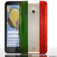 Coque pour Telephone Portable Nokia Lumia 1320   Design Drapeau iTalie Vintage   Coque arriere a clipper sur cache Batterie. #NokiaLumia1320 #iTalie #Drapeau #Coque