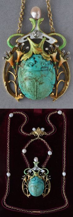 GUILLEMIN FRÈRES - An exceptional and rare example of a fin de siècle necklace, French, circa 1900. Composed of gold, turquoise, enamel, diamonds and pearls. Pendant: 11 x 4cm. Guillemin Frères created a marvellous jewel embracing the fusion of Art Nouveau and Egyptian Revival.