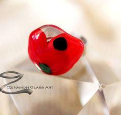 Kézműves ékszerek, pipacs-gyuru-1-small Glass Ring, Glass Jewelry, Rings, Ring, Jewelry Rings