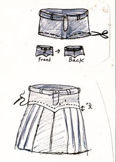 DIY jeans into pleated skirt Diy Clothing, Sewing Clothes, Artisanats Denim, Denim Skirts, Jean Skirts, Denim Purse, Denim Fabric, White Denim, Jean Diy