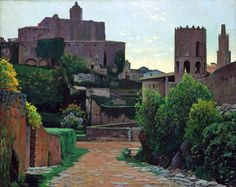 Paintings of Spring: Santiago Rusiñol februarie 1861 – 13 iunie pictor și scriitor catalan Spanish Painters, Spanish Artists, Barcelona, European Paintings, Sitges, Modern Artists, Outdoor Landscaping, Vintage Artwork, Beautiful Artwork
