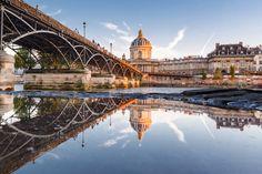 Puddle mirror on Le Pont des Arts in Paris by Loïc Lagarde on 500px