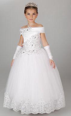 Appliques Beading Ball Gown Robe Communion Fille Long