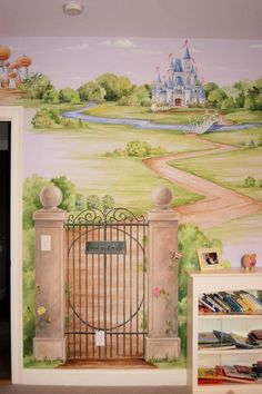 Her favorite style of painting / watercolors. Prefers barn over a castle.  South wall.