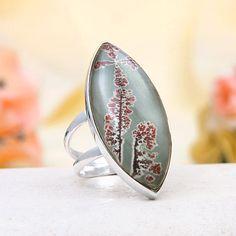 Sterling Silver Picture Jasper Ring - the pattern looks like flowers