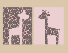Nursery Decor- Kids Wall Decor- Prints for Nursery- Set of 2 Prints- Giraffe Prints- Pink Brown Pattern for Girl Nursery Decor