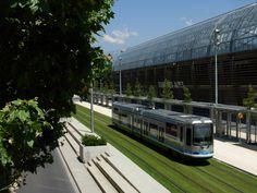 Tram and Stade des Alpes Football Stadium, Grenoble, France.