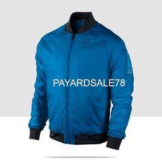 MEN'S SIZE LARGE NIKE RUNNING THERMAL JACKET DRI-FIT BOMBER SPHERE RAIN BLUE #Nike #Rainwear Thermal Jacket, Nike Golf, Rain Wear, Nike Running, Nike Jacket, Motorcycle Jacket, Cool Things To Buy, Blue Nike, Sweatshirts