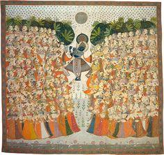Krishna's fluting summons the entranced gopis for Autumn Moon festival  c. 1840. Kota school Rajasthan, India shrine hanging [pichhavai]  (via National Gallery of Australia)