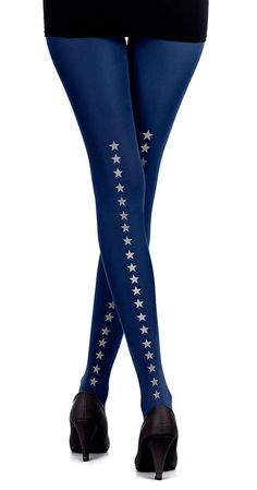 Create a fun & stylish Look with these Stars Line Print Tights Blue & Grey #TrendyLegs