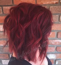 Red hair, ruby red hair, bright red hair, red velvet hair color, shades EQ, 6RR, 6AA, lob, long bob, messy bob, red bob, red lob, textured bob, texturized bob, vibrant red hair color, Aveda red hair, ruby red, beach waves, curling with a wand, kristi murdoch, how to keep red hair from fading, Olaplex, Scottsdale salon, red velvet cupcakes, messy bob, messy lob, angled bob, angled lob