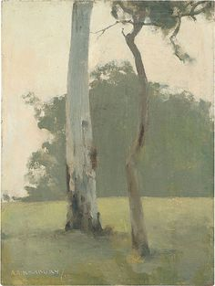 "ENLARGE NEWBURY, A.E. Australia 1891 – 1941 Eltham 1919 Painting oil on academy board 30.8 (h) x 23.2 (w) cm Framed 42.6 (h) x 34.6 (w) x 4.3 (d) cm signed and dated l.l, oil ""AE.Newbury./19"" NGA 1979.2152"