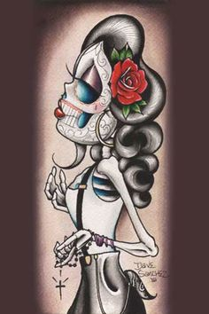 f304c1cc1acb1 Purple Leopard Boutique - Rosie Y Que by Dave Sanchez Tattoo Art Print Day  of the