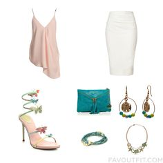 Street Style Stuff With Sans Souci Top High Waisted Skirt René Caovilla Sandals And Turquoise Purse From March 2016 #outfit #look