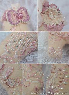 I ❤ crazy quilting . . . Splendid slipper Helan Pearce bead embroidery 4