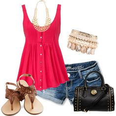 """summer outfit"" by sandreamarie on Polyvore no necklace though maybe no bracelet either lol"