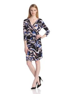 Calvin Klein Women's Print Wrap Dress with Hardware #workdresses