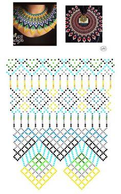 Natali Khovalko's photos Diy Necklace Patterns, Beaded Jewelry Patterns, Beading Patterns Free, Beading Tutorials, Beaded Crafts, Handmade Beads, Beads And Wire, Bead Crochet, Loom Beading