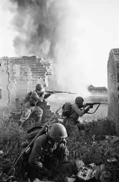 Russian Infantry firing back at the Germans....