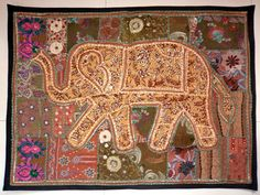 HANDMADE ELEPHANT BOHEMIAN PATCHWORK WALL HANGING EMBROIDERED TAPESTRY INDIA X14…