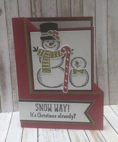 Corner Flip Card, Snow Place stamp set, Snow Friends Framelits. stampwithpeggy.com
