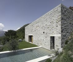 Wespi & de Meuron. Stone House KÜ in Brione sopra Minusio, Ticino, Switzerland. 2003-2005. Photography Hannes Henz