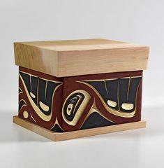 Salmon Spawning Bentwood Box by Troy Bellerose, Coast Salish, Cree artist (W111103)